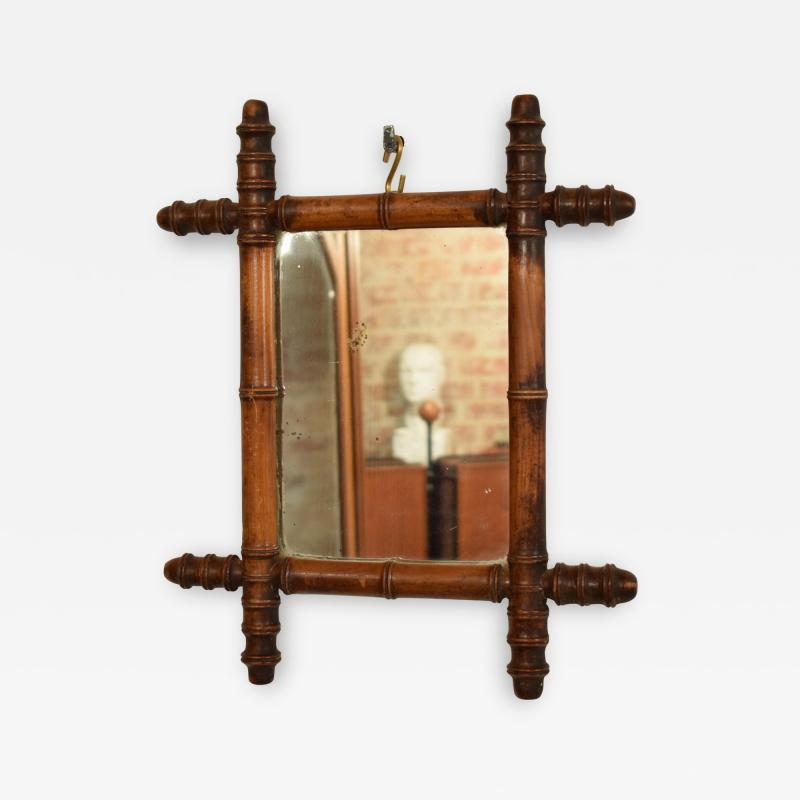French 1940s Colonial Style Faux Bamboo Mirror with Original Glass