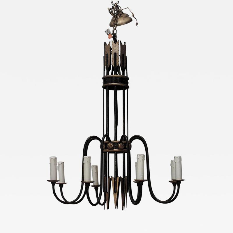 French 1940s Iron 8 Arm Chandelier with Gilt Arrow Design