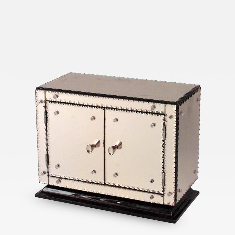 French 1940s Pink Mirrored Rectangular Miniature Cabinet