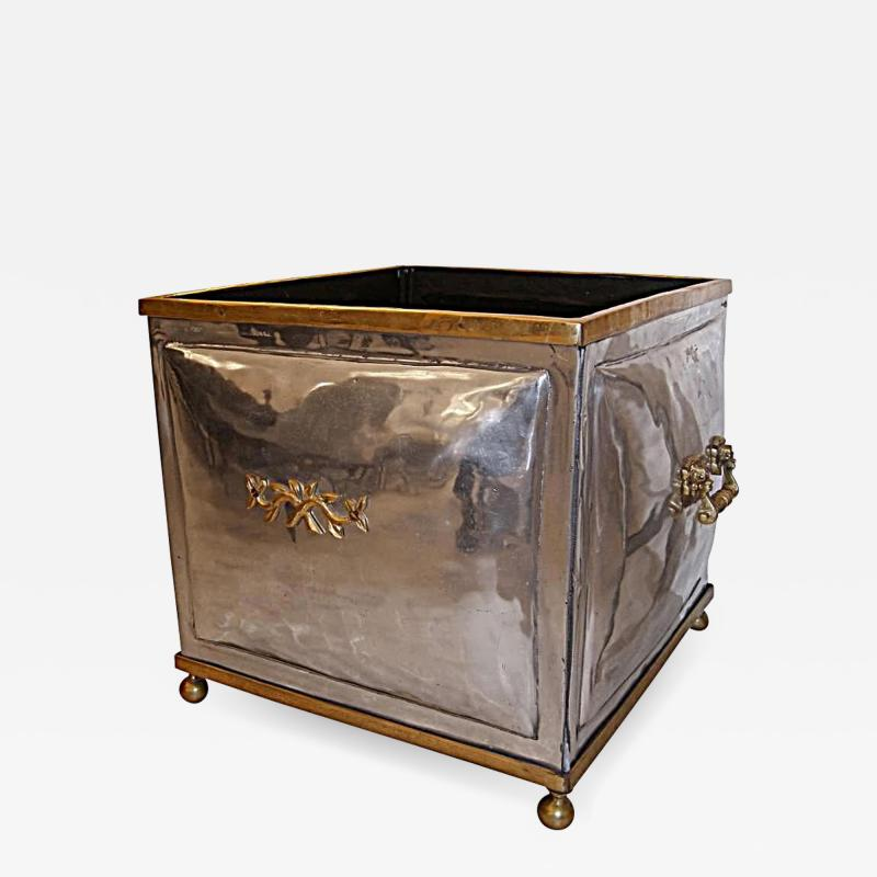 French 1940s Steel and Bronze Planter