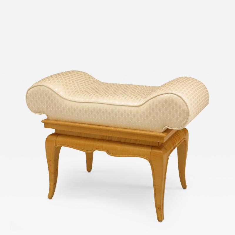 French 1940s Sycamore Small Dressing Table Bench
