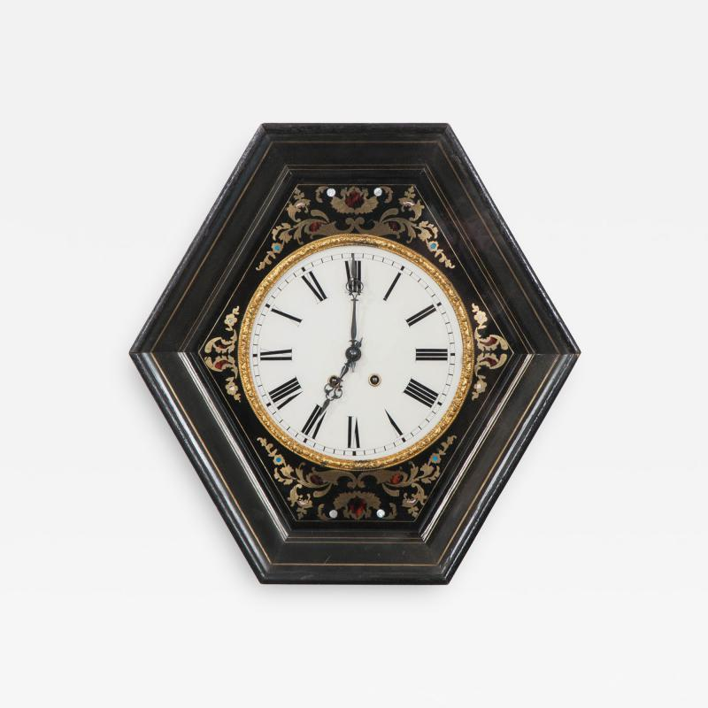 French 19th Century Boulle Inlaid Hexagonal Wall Clock