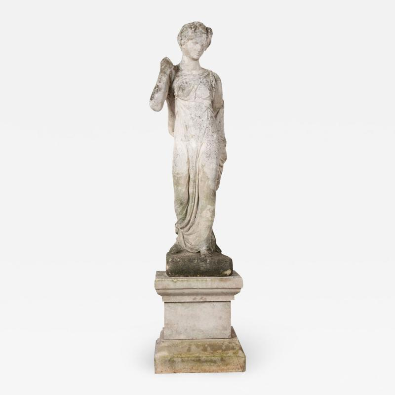 French 19th Century Cast Stone Statue on Pedestal