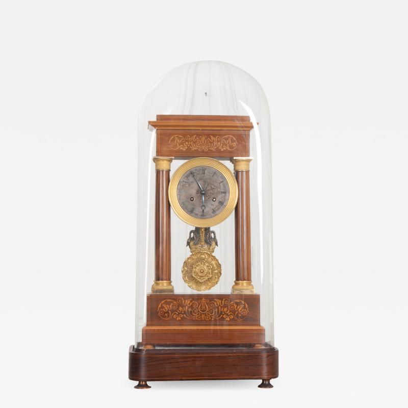 French 19th Century Empire Style Marquetry Satinwood and Bronze Portico Clock