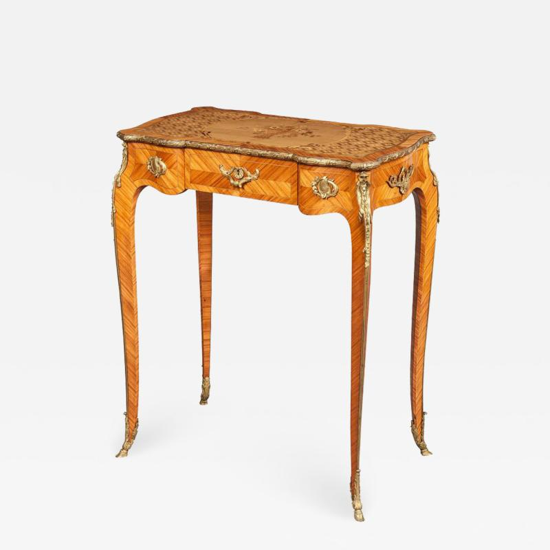 French 19th Century Floral Marquetry and Gilt Bronze Table