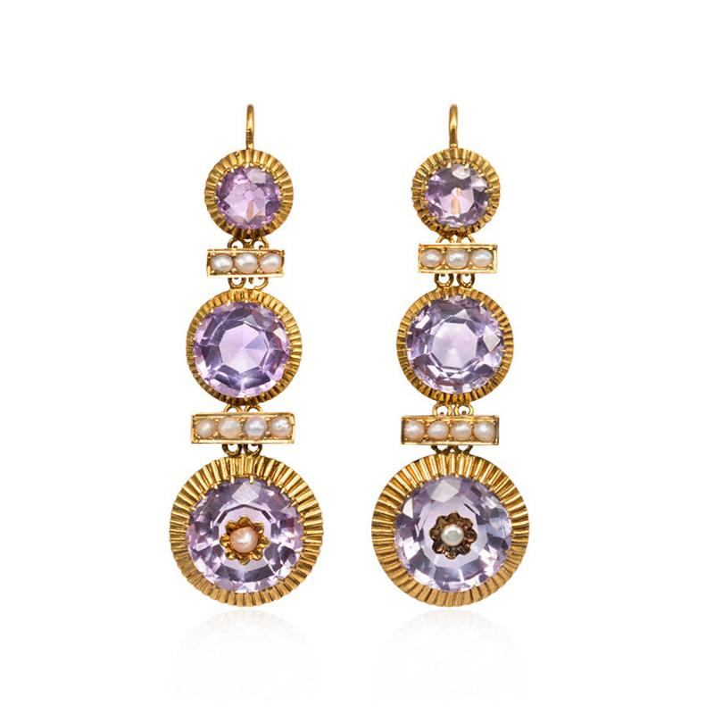 French 19th Century Gold Amethyst and Seed Pearl Earrings