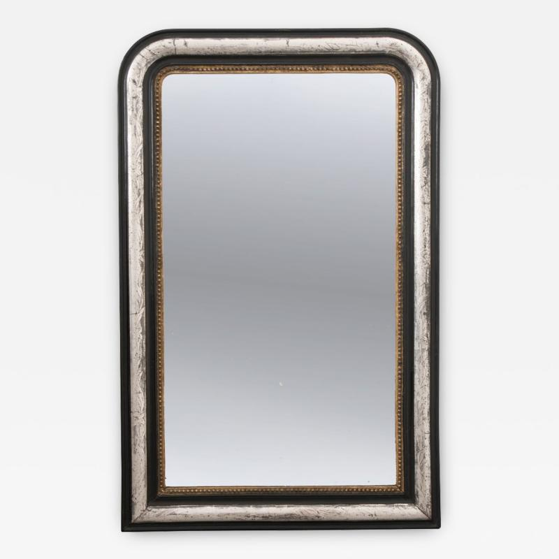French 19th Century Louis Philippe Argent and Ebonized Mirror