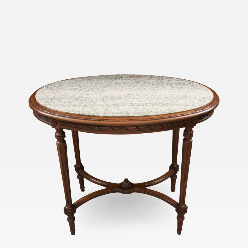 French 19th Century Louis XVI Style Oak Marble Top Table