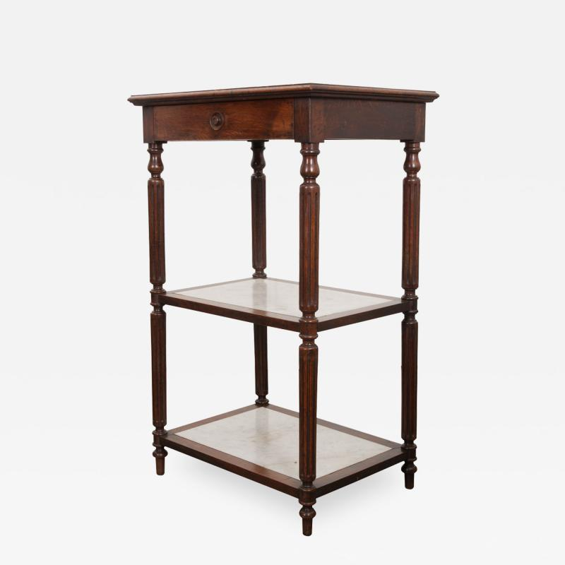 French 19th Century Louis XVI Style Oak and Marble Three Tier Etagere