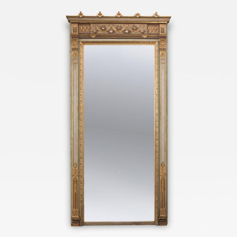 French 19th Century Painted and Parcel Gilt Pier Mirror