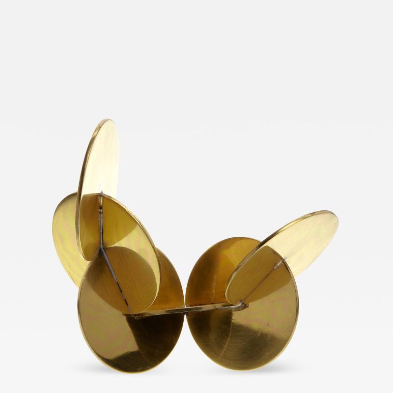 French 70s Modernist Brass Disc Sculpture