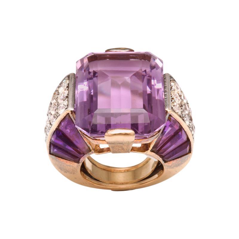 French Amethyst Diamond Ring