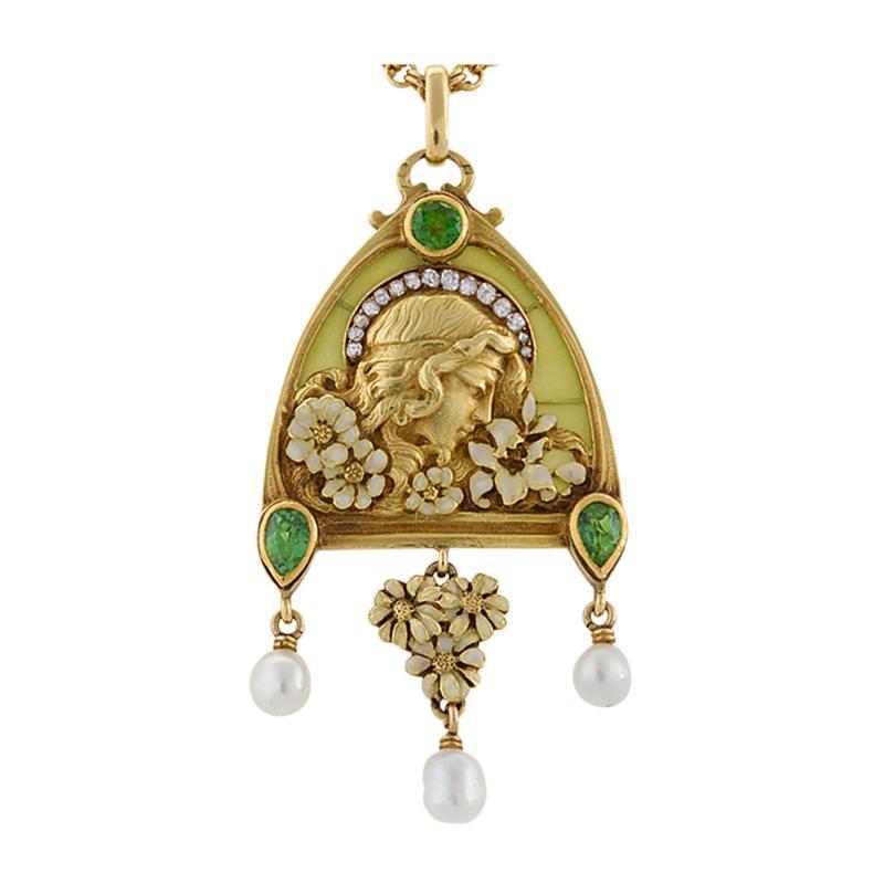 French Antique Gold Enamel Diamond Peridot and Plique Jour Juliet Pendant