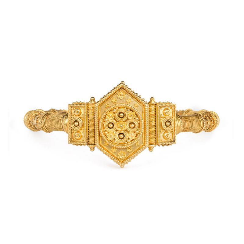 French Antique Gold Etruscan Revival Bangle Bracelet