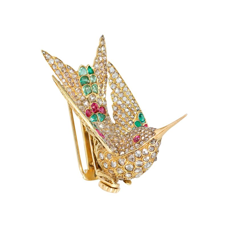French Antique Gold and Gemset En Tremblant Hummingbird Brooch Hair Comb