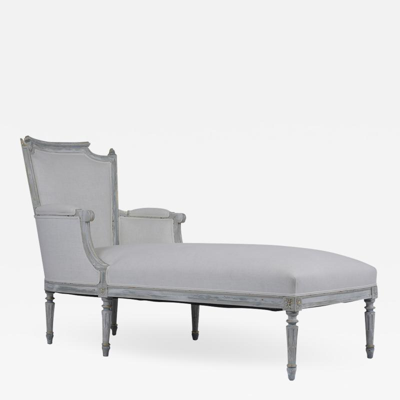 French Antique Louis XVI Painted Chaise Lounge