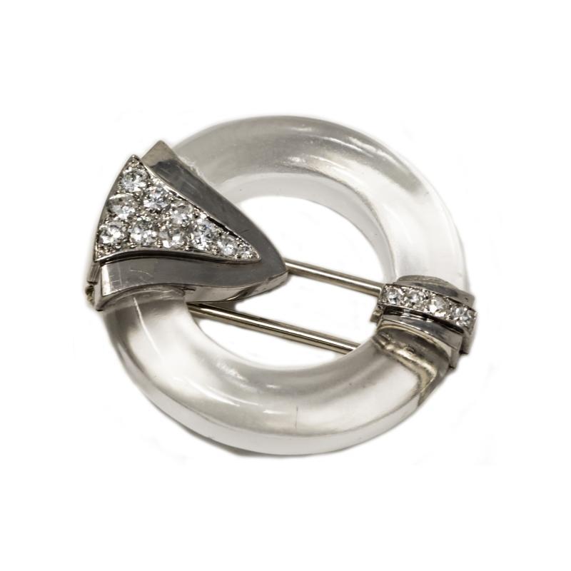 French Art Deco 1920s Rock Crystal Platinum Geometric Brooch