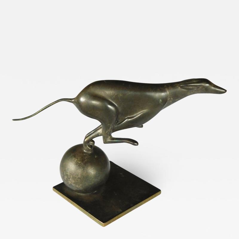 French Art Deco Bronze Greyhound Sculpture