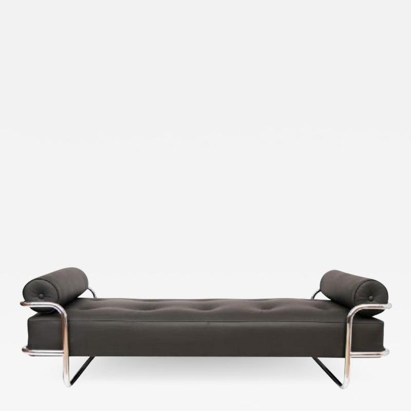 French Art Deco Chaise Longue tubular chrome frame with black leather upholstery
