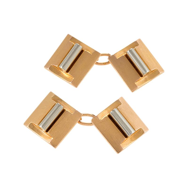 French Art Deco Gold and Platinum Cuff Links