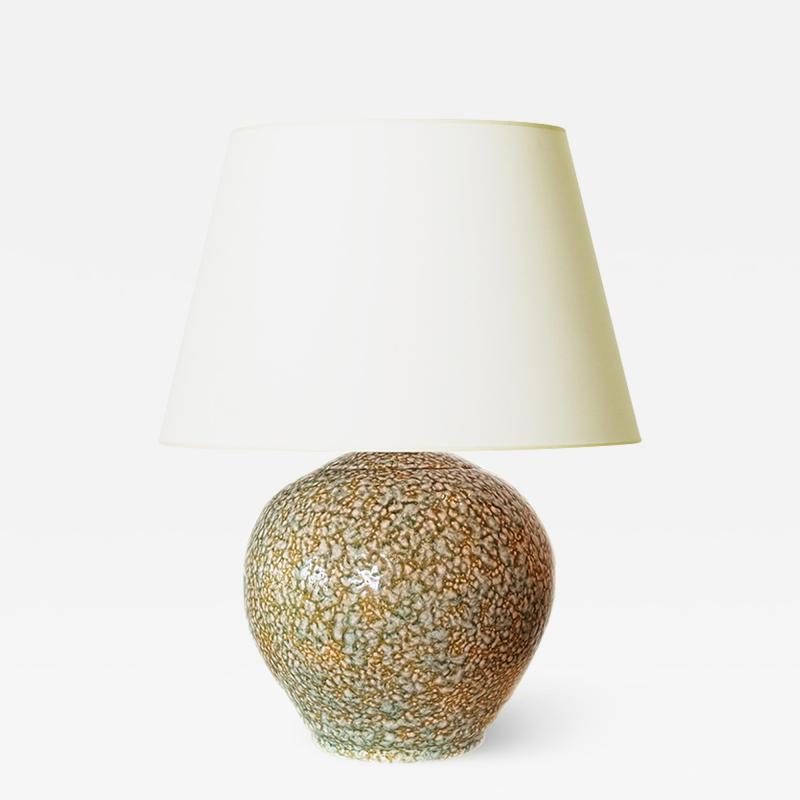 French Art Deco Lamp with Mottled Glazing