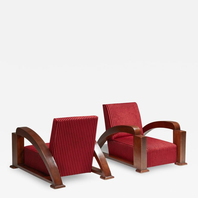 French Art Deco Lounge Chairs in Red Striped Velvet and with Swoosh Armrests