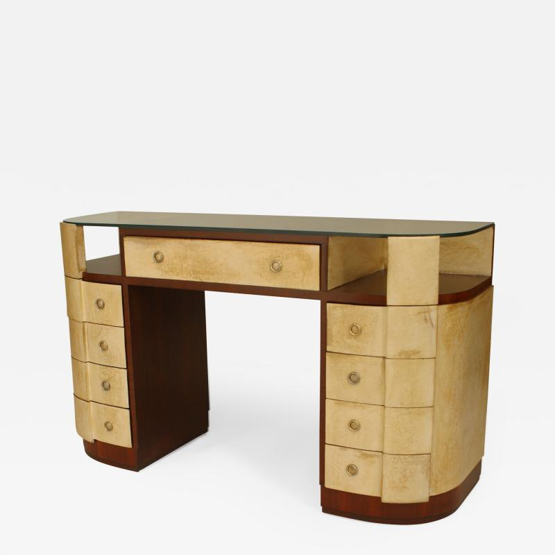French Art Deco Mahogany and Parchment Veneered D Shaped Dressing Table Desk