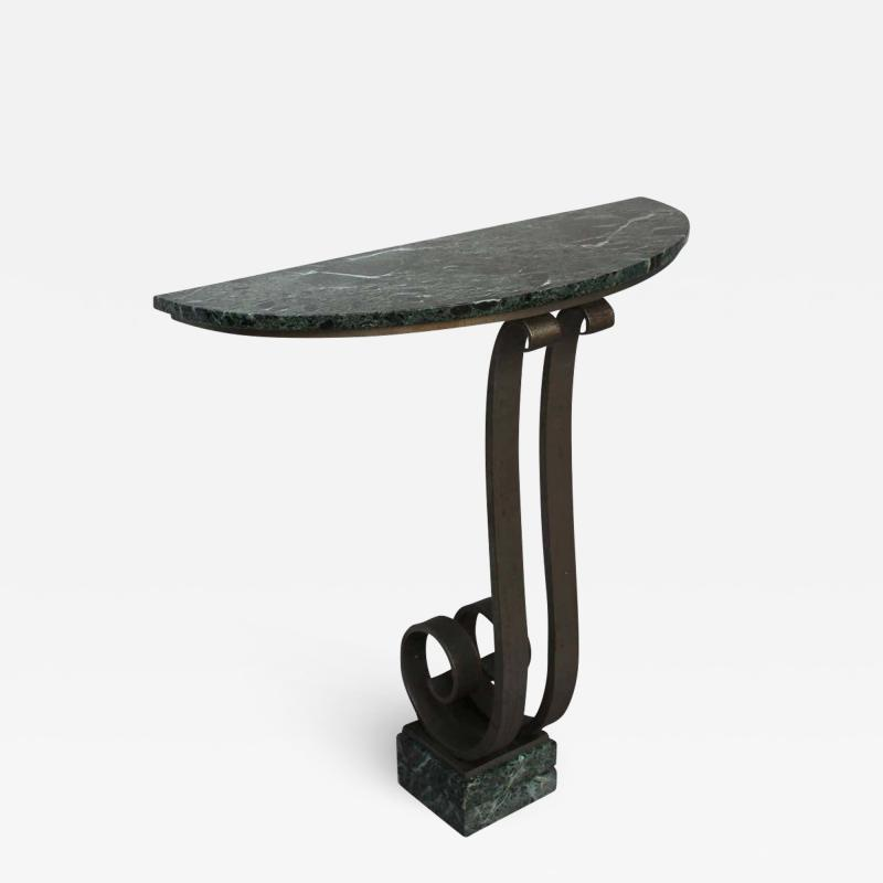 French Art Deco Marble Console with a Hammered wrought Iron Pedestal