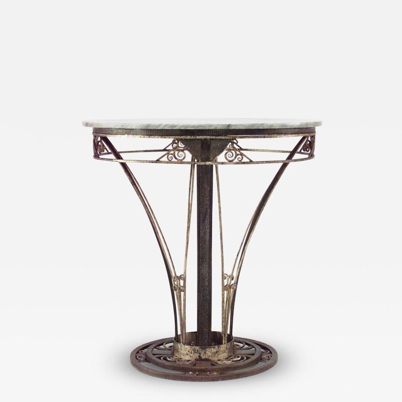 French Art Deco Round Wrought Iron End Table