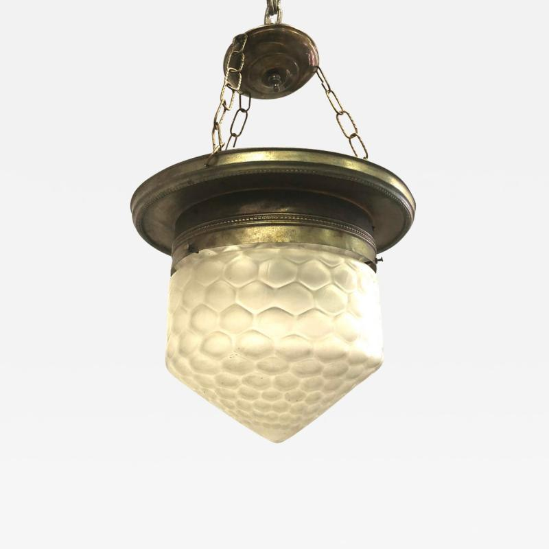 French Art Deco Satin Dimple Glass Brass Pendant Flush Mount Fixture 1925