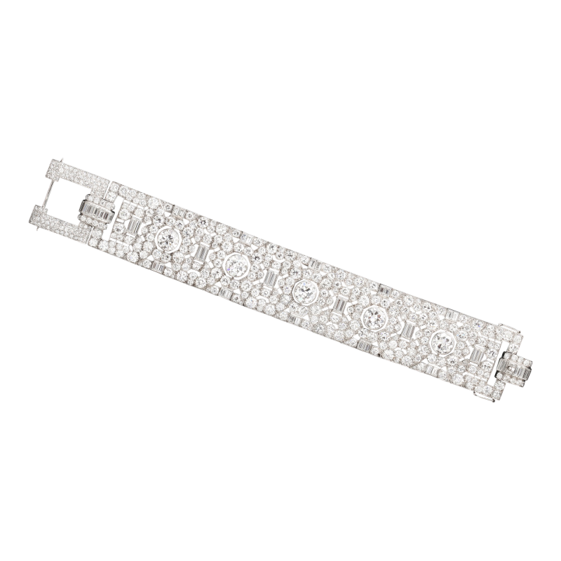 French Art Deco diamond bracelet in platinum circa 1920