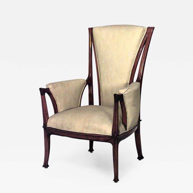 French Art Nouveau Walnut High Back Bergere Armchair