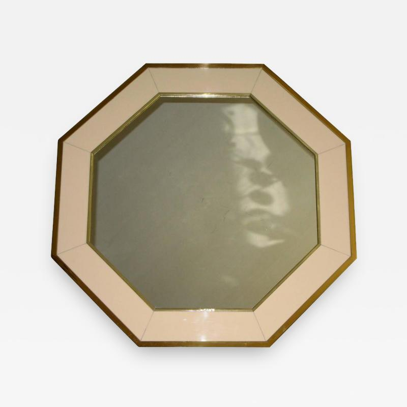 French Brass Lacquered Panel Octagonal Wall Mirror