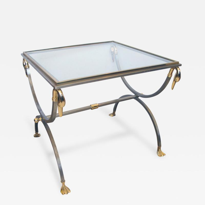 French Brushed Steel and Brass Side Table with Glass Top and Swan Supports