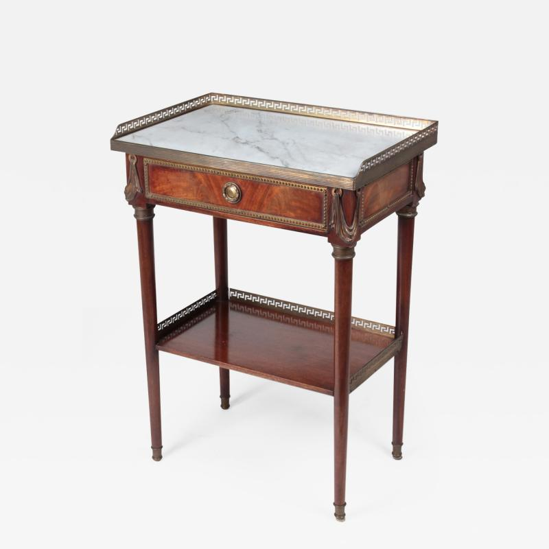 French Coffee table in mahogany and white Carrara marble and bronze 19th century
