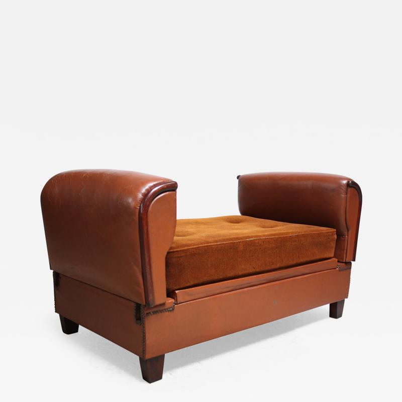 French Deco Leather and Mohair Daybed