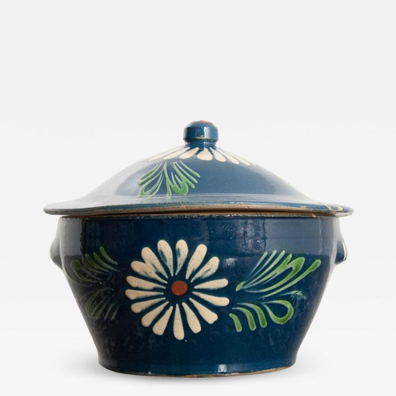 French Early 20th Century Glazed Fa ence Lidded Tureen