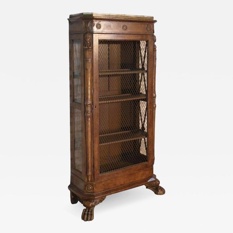 French Empire 19th Century Walnut Bookcase Cabinet