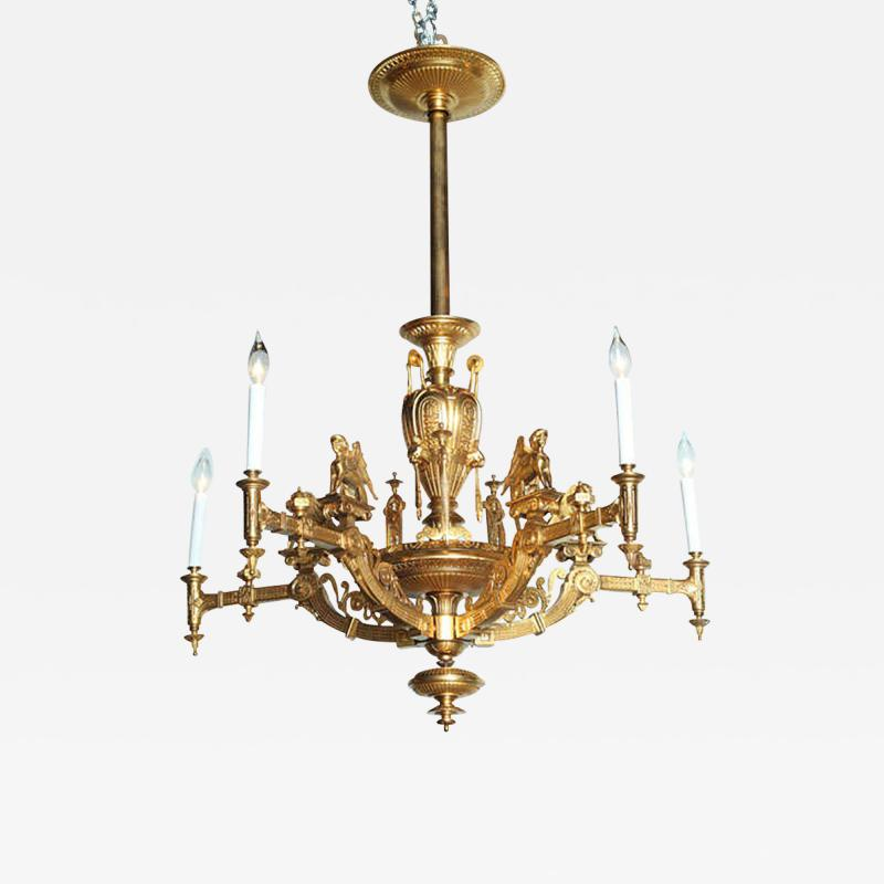 French Empire Style Gilt Bronze Five Light Chandelier 1880
