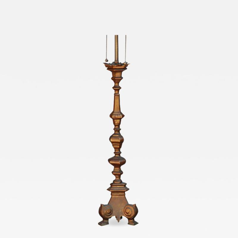 French Gilt Bronze Baroque Style Candlestick Lamp