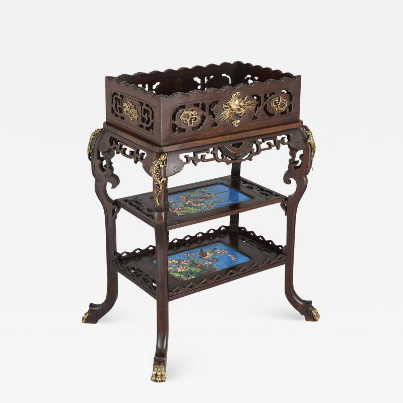 French Japonisme style gilt bronze and faience standing jardini re