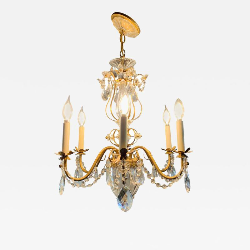 French Louis XV Style Brass and Crystal Chandelier
