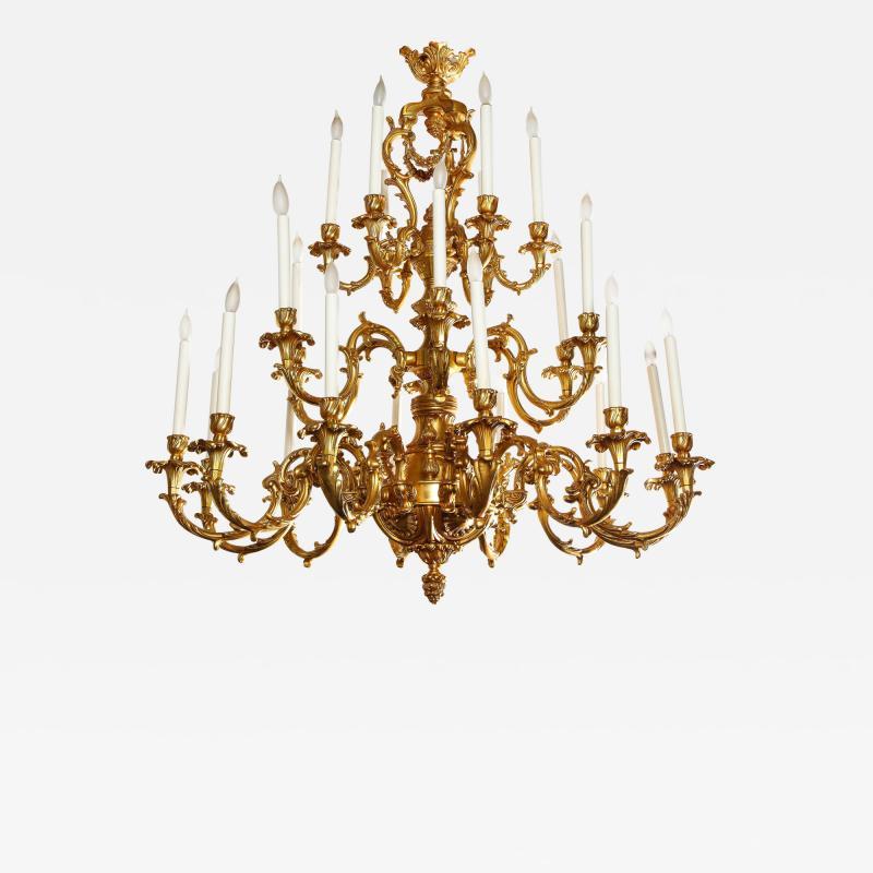 French Louis XVI Style 24 Light Bronze Chandelier