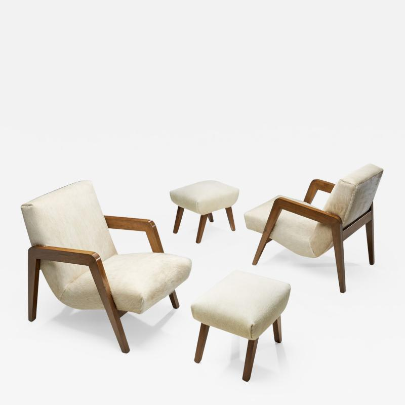 French Lounge Chairs with Footstools France 1940s