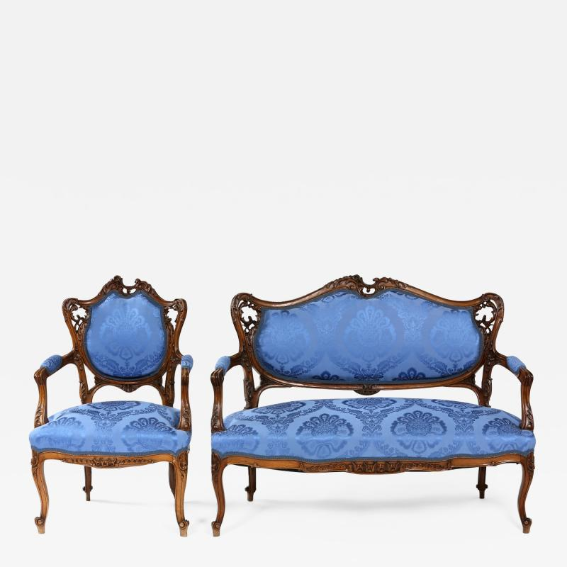 French Mahogany Framed Seating Two Piece Set
