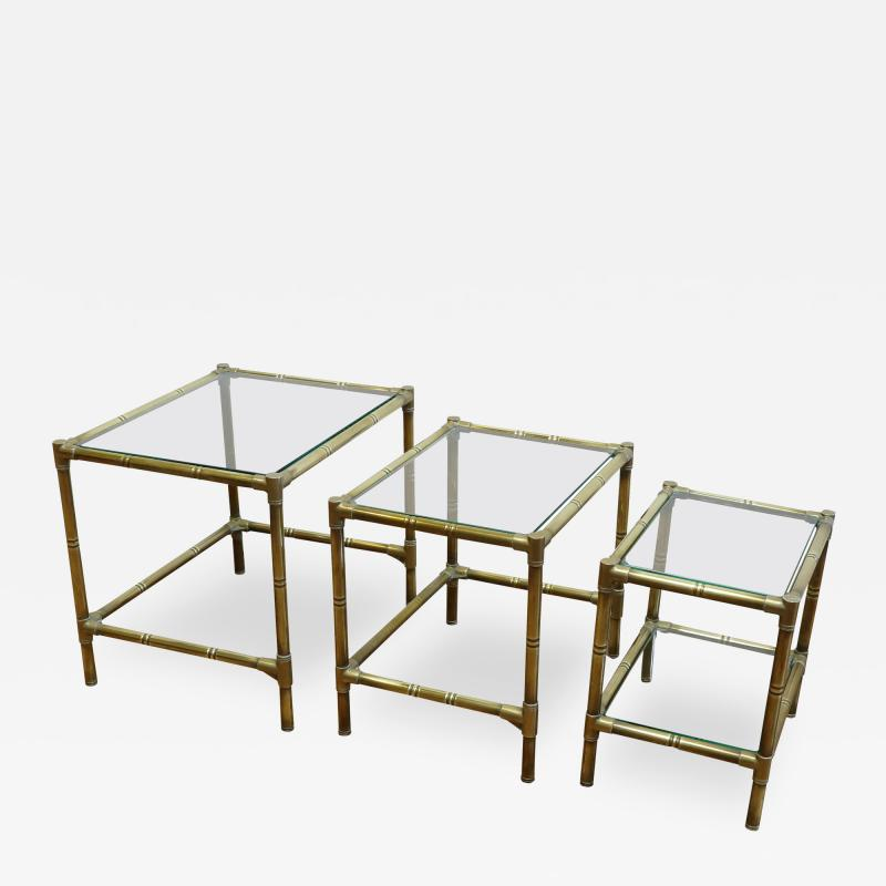 French Mid Century Brass Nesting Tables