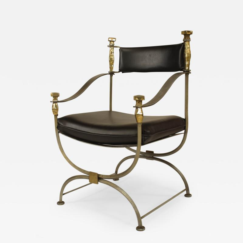 French Mid Century Modern Neo Classic Campaign Style Armchair