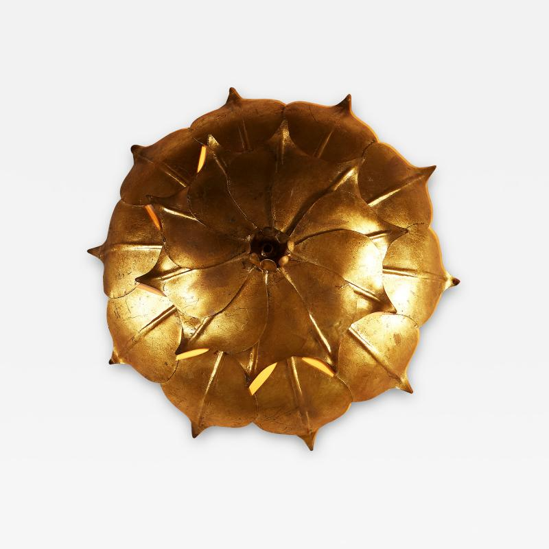 French Mid century gold leaf wall light