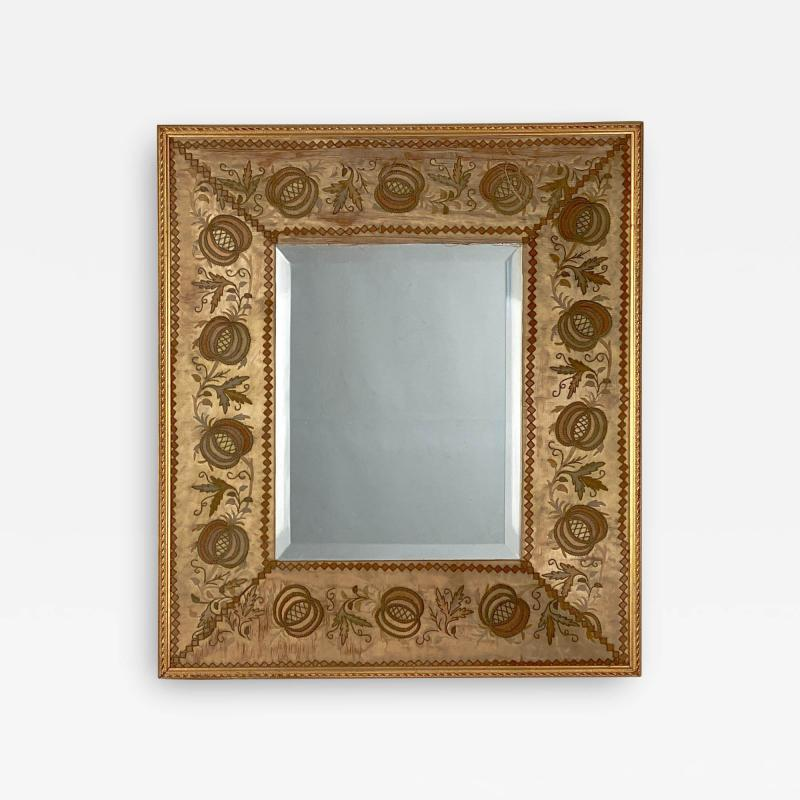 French Mirror with an 18th Century Fabric Border