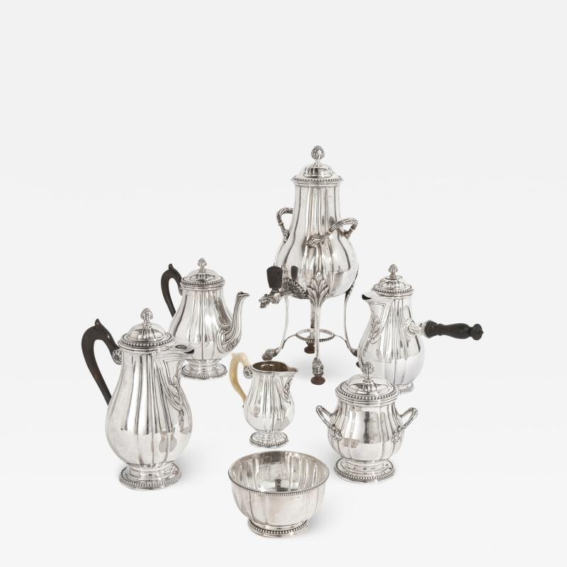 French Neoclassical style seven piece coffee and tea set